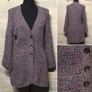 Style & Co - Sz M - sparkle big button cardigan